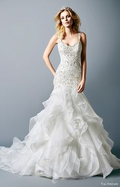 val stefani bridal fall 2016 sleeveless scoop beaded mermaid wedding dress (paulette) mv ruffle skirt
