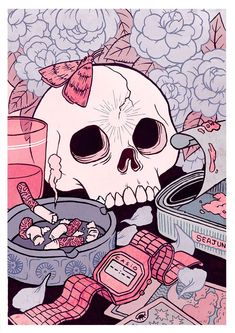 Kirsten Rothbart Illustration - Vanitas © Kirsten Rothbart Vanitas, Pretty Art, Cute Art, Aesthetic Art, Aesthetic Anime, Aesthetic Drawing, Art Sketches, Art Drawings, Collage Drawing