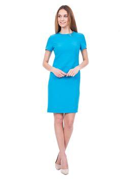 Dopasowana niebieska sukienka z krótkim rękawem - Sukienki - NOWOŚCI - Bialcon sklep