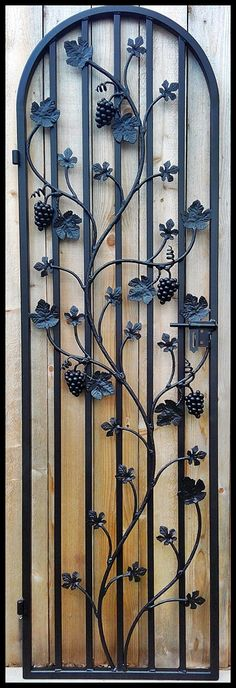 Charlotte Grapevine Door - Iron Wine Cellar Gate -- Built to fit a 24 by 80 inch doorway opening - Handcrafted in the USA - Heavy Duty You can have this door built so that you can mount an opening fin Gate Design, Door Design, Wine House, Window Grill, Wrought Iron Gates, Grill Design, Iron Art, Italian Wine, Iron Doors