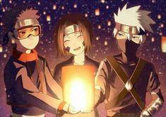 Team Minato >> Uchiha Obito, Nohara Rin and Hatake Kakashi Naruto Kakashi, Anime Naruto, Naruto Fan Art, Naruto Cute, Madara Uchiha, Naruto Shippuden Anime, Otaku Anime, Team Minato, Naruto Team 7