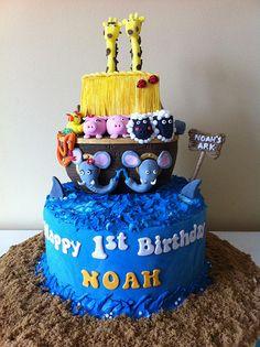 Noah's Ark Cake Noahs Ark Cake, Noahs Ark Party, Unique Cakes, Creative Cakes, Creative Food, Fake Cake, Cakes For Boys, Cupcake Cakes, Cupcakes