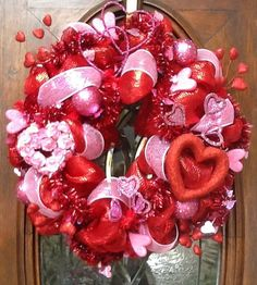 Valentine Wreath By Hertaswreaths On Etsy 95 00 Day Wreaths Valentines Decorations