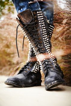 shoes Grunge punk darkness goth studded gothic Spiked nu goth dark fashion all black gothic fashion dark beauty gothic beauty socialpsychopathblr Stilettos, Heels, Crazy Shoes, Me Too Shoes, Corsets, Free People Boots, Looks Style, My Style, Badass Style
