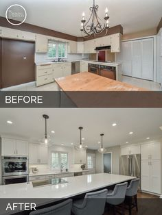 Before and After Open Floor Plan Kitchen, Living Room, White Cabinets - Sebring Services