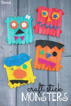 DIY Little monsters made from icecream sticks. Craft Stick Monsters - Kid Craft
