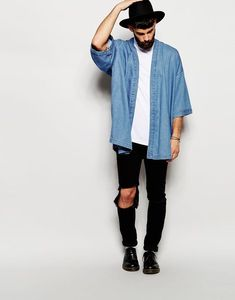 Buy ASOS Denim Kimono Jacket at ASOS. Outfits Hipster, Cool Outfits, Stylish Outfits, Hipster Style, Edgy Style, Men's Outfits, Style Men, Mode Ulzzang, Mode Man