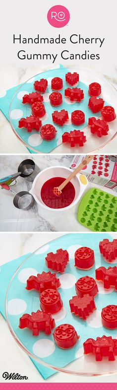 Make your own cherry gummy candies in a variety of shapes and sizes with the Rosanna Pansino Cherry Gummy Mix. Compatible with most plastic and silicone molds, this gummy mix works up fast (just add water) and tastes great! Use Ro's silicone mini gummy mold to create fun dinosaur, 8-bit heart and Nerdy Nummies logo gummies, or make gummies using whatever mold you have on hand. A fun project for the whole family to do together, these cherry gummies are a sweet treat everyone is sure to love.