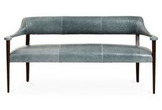 obsessed with this gorgeous grey-blue leather bench!
