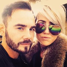From a day out in london 💜 @luigi_monte  #couple #blonde #selfie #glasses #fur #shorthair #handsome #man #butterfly #throattattoo #blueeyes #beard#