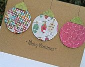 Ornament Card - Paper Handmade Christmas Cards -  Handmade Holiday Cards - Blank Christmas Cards - Kraft Christmas Cards
