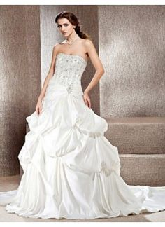 Beautiful A-line Strapless Cathedral Train Embroidery Satin Beach Wedding Dress