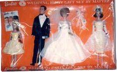*1964 Wedding party brunette Barbie, Ken, Midge & Skipper dolls 2 #1017