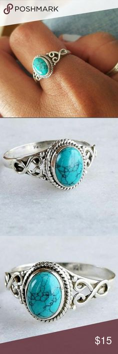 Round turquoise ring 925 marked silver with round turquoise. Jewelry Rings