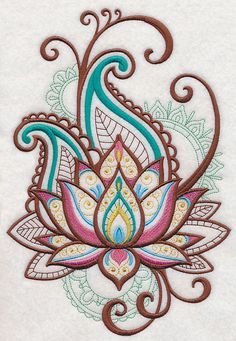 2 Pretty Mehndi Lotus Spray embroidered fabric sewing quilt blocks squares