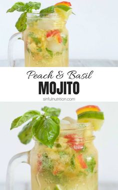 Basil Peach Mojito Recipe-- An end of the summer cocktail made with muddled peaches, fresh basil, and sparkling club soda. A refreshingly seasonal drink perfect for happy hour! Healthy Alcoholic Drinks, Drink Recipes Nonalcoholic, Frozen Drink Recipes, Low Calorie Drinks, Coffee Drink Recipes, Drinks Alcohol Recipes, Cocktail Recipes, Detox Drinks, Refreshing Summer Cocktails