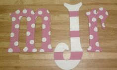 Hand Painted Wall Monogram  Pink and white polka dots  by lkcolley, $22.00