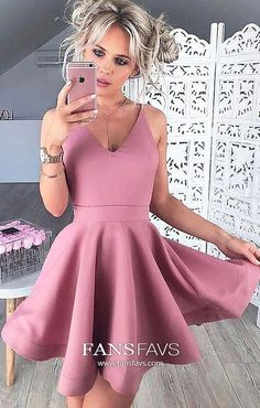Pink Homecoming Dresses Short, A Line Homecoming Dresses V Neck, Satin Homecoming Dresses Modest, For Teens Homecoming Dresses Cheap #FansFavs #homecomingdresses #pinkdresses #alinedress #vneckdresses