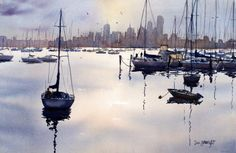 Watercolor Paintings Boats and the Sea Gallery: Seascapes #watercolor jd