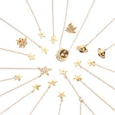 ICONERY   Kim France Celestial Jewelry Collection inspired by Peter Max   14K Gold and Diamond Star Jewelry
