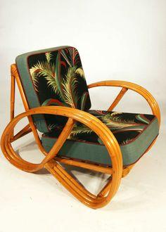 Paul Frankl Style Round Pretzel Arm Rattan Chair