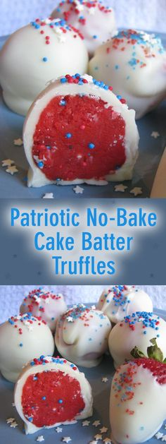 Patriotic No-Bake Cake Batter Truffles - Who Needs A Cape?Patriotic No-Bake Cake Batter Truffles perfect for Memorial Day or July parties!Patriotic No-Bake Cake Batter Truffles - Who Needs A Cape? Patriotic No-Bake Cake Batter Brownie Desserts, Mini Desserts, 4th Of July Desserts, Fourth Of July Food, Holiday Desserts, Holiday Treats, No Bake Desserts, Just Desserts, Holiday Recipes