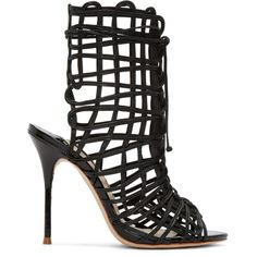 Sophia Webster Black Leather Delphine Heeled Sandals featuring polyvore, women's fashion, shoes, sandals, heels, black, black heel sandals, lace-up sandals, black leather sandals, caged heel sandals and open toe sandals