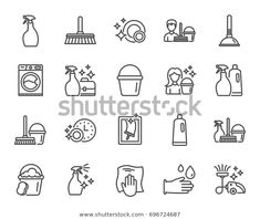 Cleaning Line Icons Laundry Sponge Vacuum Stock Vector (Royalty Free) 696724687 Icon Design, Logo Design, Cleaning Icons, Banks Icon, Symbol Logo, Window Cleaner, Animal Logo, Bullet Journal Inspiration, Line Icon