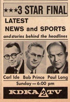 KDKA-TV, Pittsburgh, PA back in the day.