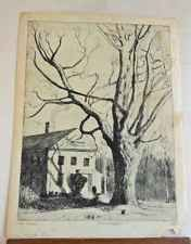 Marco ZIM Russia Artist 1930s Antique Etching Boston New England House Old Maple