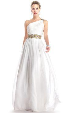 greek style long white prom dress  simple wedding dress