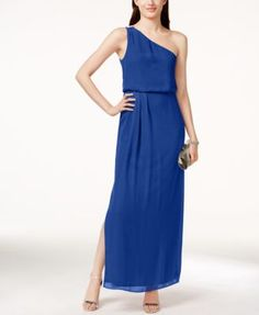 Adrianna By Adrianna Papell One-Shoulder Chiffon Draped Gown | macys.com