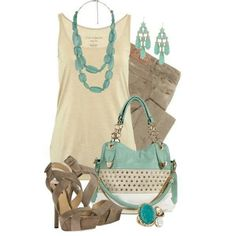 Cute teal and tan outfit