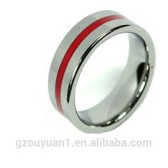 Tungsten Carbide Ring Native Color with Red Line Inlaid Polished Wedding Band 8mm Unisex Ring