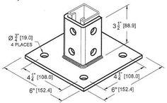 Post Base Single Channel 4 Hole Square 3-1/2' (Pkg of 2)