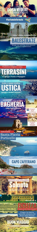 Infografica sui luoghi da vedere e visitare vicino Palermo: Terrasini, Balestrate, Bagheria, Ustica, Solunto, Ficuzza.  Un itinerario turistico vicino Palermo.