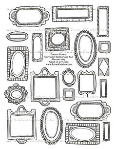 Playful Frames Collage Sheet - Black and White