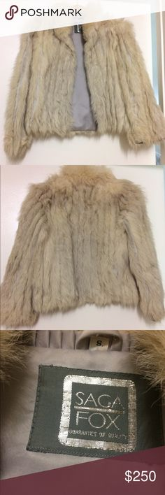 Vintage Saga Fox Coat This is a spectacular vintage Saga Fox REAL fur coat. It is original Norwegian blue fox.  The outside is in great condition.  The inside has a few dirty spots from age but you can't see when wearing it. You may even be able to get them out.  This is a small and it does run small.  I am generally a small and my shoulders were a bit too wide for this and my arms a bit too long.  I think best for size 0-2 or a very slender small shouldered size 4.  Don't miss your chance…