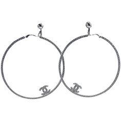 Pre-owned Vintage Huge Chanel Rhinestone Hoop Earrings ($1,000) ❤ liked on Polyvore