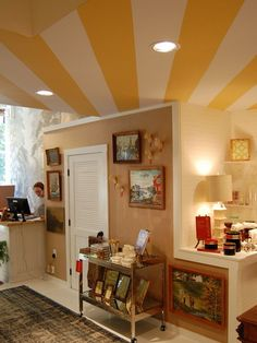 This striped ceiling sunburst is bright and cheerful.
