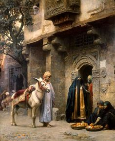 Arabische Straßenszene by Frederick Arthur Bridgman -   In the late 19th century, Frederick Arthur Bridgman was considered one of the most prominent American expatriate artists. Trained in Paris under the tutelage of the greatest of all the Orientalist painters, Jean Léon Gérôme, Bridgman came to represent the embodiment of the strong American fascination with the East.