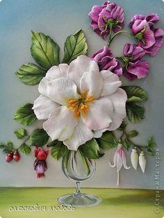 Картина панно рисунок Лепка цветы в бокале Тесто соленое фото 1