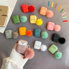 Custom AirPod Case Cute With Pom Pom Keychain,Shock Proof Holder Cover Organizer for Silicone AirPods Case Fur Ball,Personalized Name Gift Mini Things, Cool Things To Buy, Cute Ipod Cases, Telephone Iphone, Iphone 7 Plus, Accessoires Iphone, Earphone Case, Tablet, Name Gifts