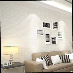 46.00$  Buy here - http://ali9f0.worldwells.pw/go.php?t=32773723873 - Home Wall Decor Wallpaper Non-woven 3D Brick Stone Pattern Wallpaper Bright White 10*0.53m 1 Roll Pure Textured Wall Sticker 46.00$