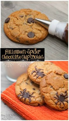 Halloween Cookies - Spider Infested Chocolate Chip Cookies, Great Recipe!