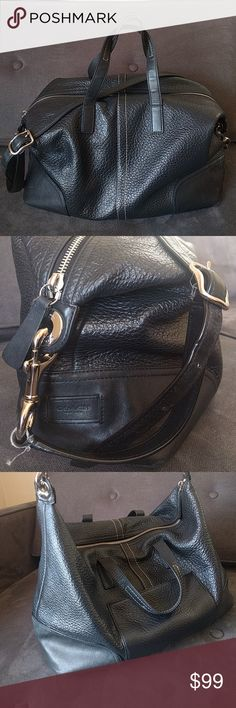 """Coach black pebbled leather Hadley purse f31663 Fabulous, huge black leather Coach purse. It is used so there are some signs of wear to the corners and a few scuffs and marks, and loose threads. Interior fairly clean, no stains but a little linty. Length 14"""", height 10"""", depth 5.5"""". Handles drop about 4-5"""", strap 21"""" + more holes to adjust to. From a smoke and pet free home. Missing hang tag. Coach Bags Crossbody Bags"""