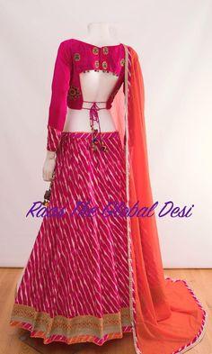 Raas The Global Desi lehenga Indian dress chaniya choli gown saree Bandhani Dress, Lehnga Dress, Lehenga Gown, Lehriya Saree, Lehenga Blouse, Indian Lehenga, Sarees, Half Saree Designs, Choli Designs