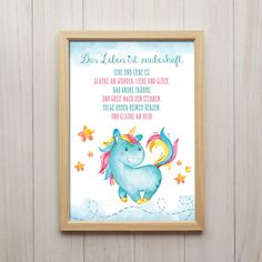 Bild Das Leben Ist Zauberhaft Kunstdruck A4 Einhorn Spruch Kinderzimmer Deko