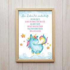 Bild Das Leben Ist Zauberhaft Kunstdruck A4 Einhorn Spruch Kinderzimmer Deko in…