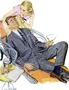 Pillow, newspaper and martinis while served in a dress...how a good 50s wife used to take care of her man after a long day at the office...Hart Schaffner and Marx ad, 1957.